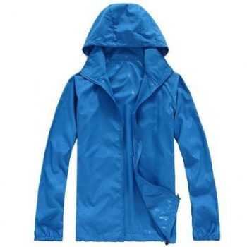 Jaqueta Impermeável Frio Capuz Corta Vento Blusa Azul