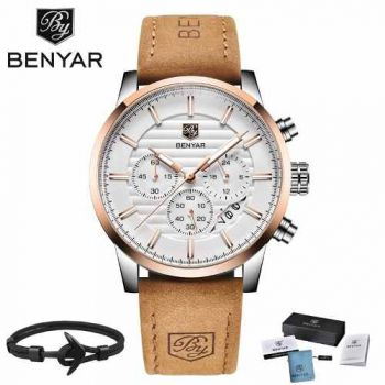 Relógio Benyar Masculino Esportivo Pulseira Couro 5104