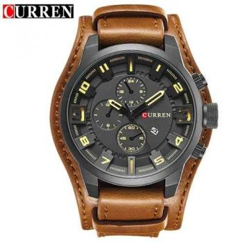 Relógio Masculino Curren 8225 Preto Pulseira Couro Marrom