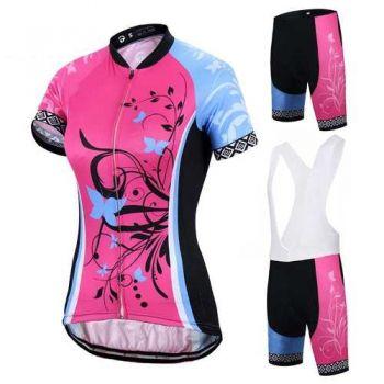 Conjunto Feminino Ciclismo Bike Short & Camisa Roupa Rosa