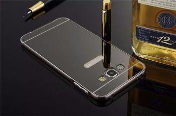 Capa Capinha Bumper Espelhada Celular Samsung Galaxy J3 2016 Cinza Escuro