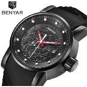Relógio Luxo Benyar S1 Yakuza Preto Vermelho Na Caixa
