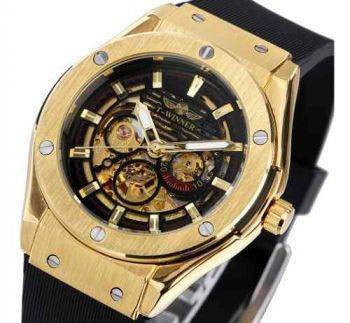 Relógio Masculino Dourado Winner 389 Esqueleto Mecânico Ouro