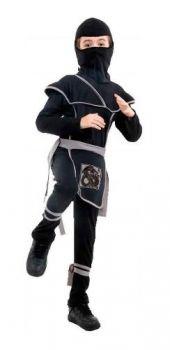 Fantasia De Ninja Infantil Menino Samurai Preto Com Capuz