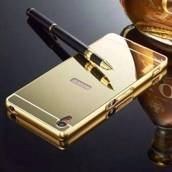 Capinha + Bumper Espelhada Luxo Dourado Sony Xperia Z3 D6603 D6633