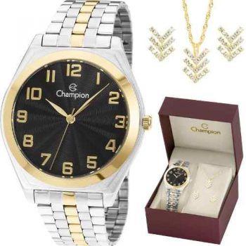 Kit Relógio Champion Feminino Dourado Ch22966k
