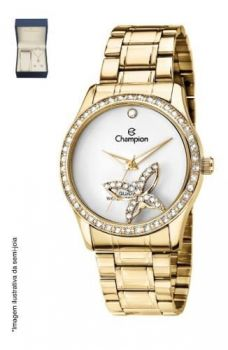 Relógio Champion Feminino Ch25892w Dourado + Semijóia