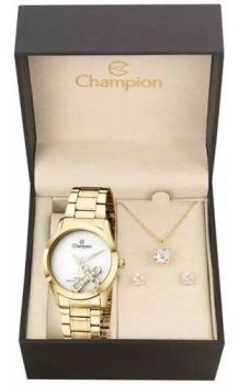 Kit Relógio Champion Feminino Dourado Cruz Ch25909w