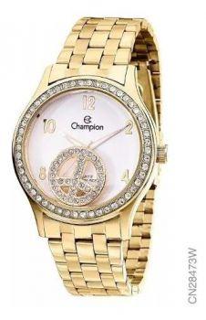 Kit Relógio Champion Dourado Fashion Cn28473w + Semijoia