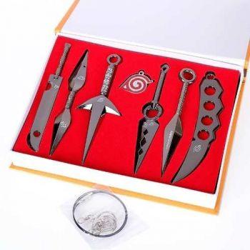 Kit 7 Pcs Kunai Shuriken Naruto Sasuke Metal Pingente + Box