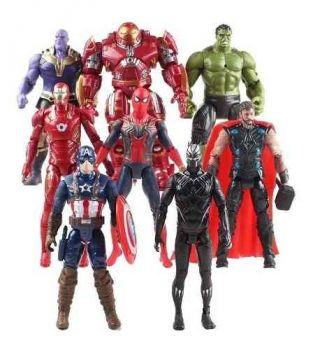 Kit Bonecos Hulkbuster Hulk Thanos Iron Man Spider Ultimato