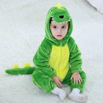 Macacão Pijama Infantil Criança Pelúcia Dinossauro Verde