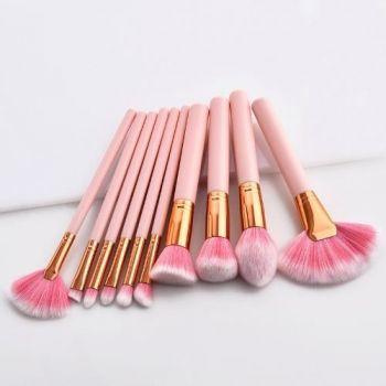 Kit 10 Pincéis Pincel Para Maquiagem Blush Corretivo Pó Rosa