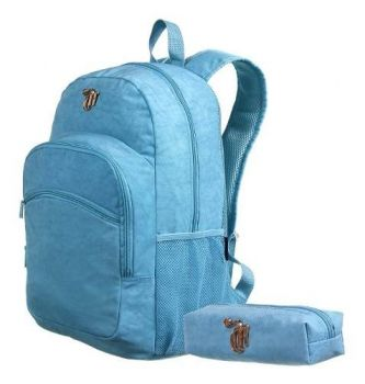 Kit Mochila + Necessair Capricho Crinkle Blue Universitária