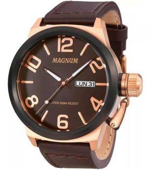 Relógio Magnum Masculino Ma33399z Couro Marrom Original
