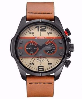 Relógio Masculino Curren 8259 Couro Marrom Novidade