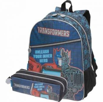 Kit Escolar Mochila Transformers Optimus Prime + Estojo