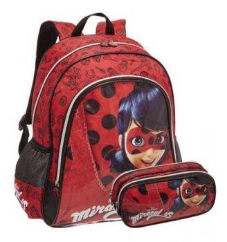 Kit Escolar Miraculous Ladybug Mochila com Estojo Duplo Promoção Pronta Entrega