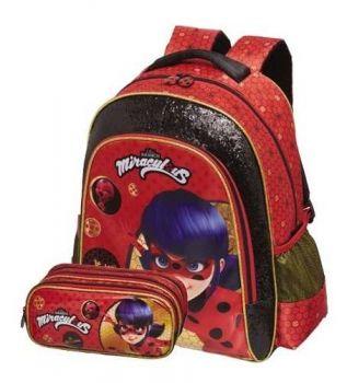 MOCHILA Infantil ESCOLAR Ladybug Miraculous + BRINDE ESTOJO DUPLO Promoção Pronta Entrega