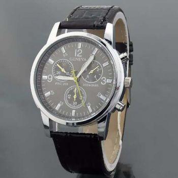 Relógio Masculino Geneva Pulseira De Couro Pronta Entrega