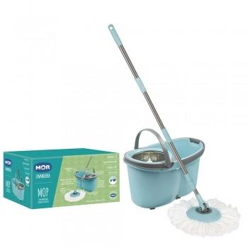 Balde Esfregão Mop Com Rodinhas Limpeza Prática Mor