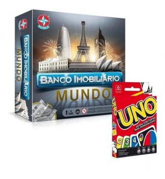 Banco Imobiliário Mundo Estrela + Jogo De Cartas Uno Copag