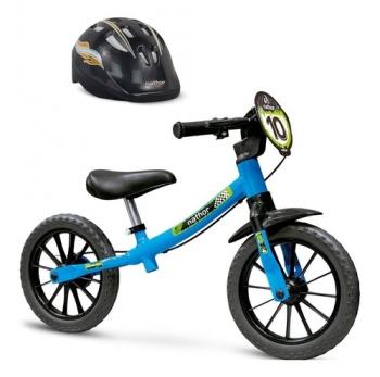 Bicicleta Aro 12 Equilibrio Nathor Sem Pedal + Capacete