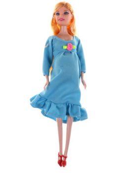 Boneca Gravida E Bebê Filhinha Loira Vestido Azul