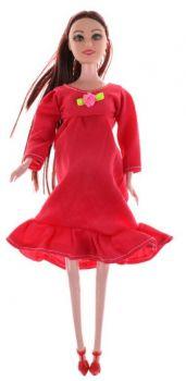 Boneca Gravida E Bebê Filhinha Morena Vestido Vermelho