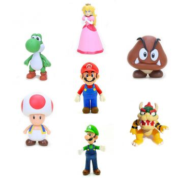 Boneco Action Figure Super Mario Luigi Yoshi Bowser Peach Colecionável
