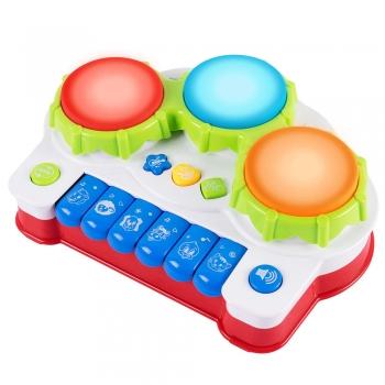 Brinquedo Pianinho Musical Infantil Três Tambores Som Animais