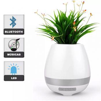 Caixa De Som Vaso De Planta Bluetooth Led Luminária Mp3 Abajur BRANCO