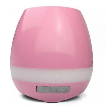 Caixa De Som Vaso De Planta Bluetooth Led Luminária Mp3 Abajur ROSA