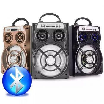 Caixa Som Portátil Amplificada Bluetooth Recarregavel E13 Dourada