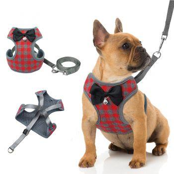 Coleira Peitoral Canil Xadrez com Gravata Reforçado Cães Peq