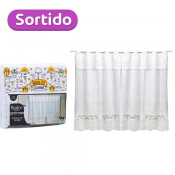 Cortina Cozinha 200x120 Cm Renda Cascata Branca Café Frutinhas Sortido