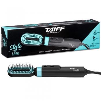Escova Secadora E Alisadora Taiff Style 3 Em 1 Preto Azul