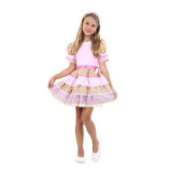 Fantasia Caipira Chic Infantil Rosa - Festa Junina