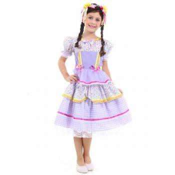 Fantasia Caipira Chiquinha Lilás Infantil - Festa Junina