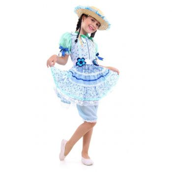 Fantasia Caipira Flor Azul Infantil - Festa Junina