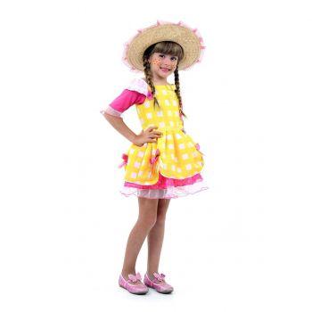 Fantasia Caipira Infantil Amarelo Luxo - Festa Junina