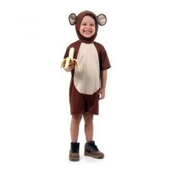 Fantasia De Macaco Infantil Curto Verão 2 A 8 Anos C/ Orelha