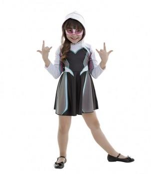 Fantasia Spider Gwen Infantil Com Vestido Capuz E Máscara