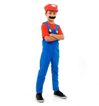 Fantasia Super Mario Luxo Infantil Com Bigode 2 A 12 Anos