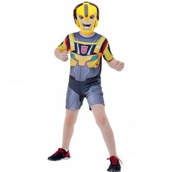Fantasia Transformers Bumblebee Infantil Curta C/ Máscara
