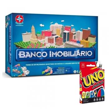 Jogo Classico Banco Imobiliário App + Jogo Cartas Uno Copag