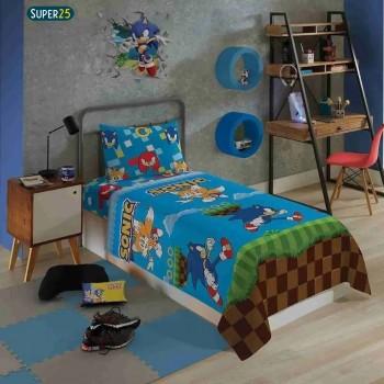 Jogo De Cama Sonic Infantil Personagem 3 Peças Full Lepper
