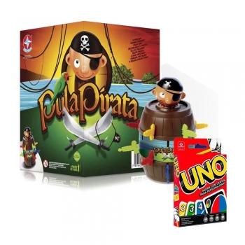 Jogo Pula Pirata Realidade Estrela + Jogo Cartas Uno Copag