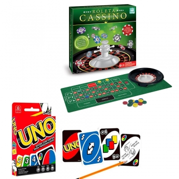 Jogo Roleta Cassino Nig + Jogo De Cartas Uno Mattel