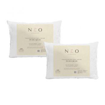 Kit 02 Travesseiros Neo Prime Ecopluma 100% Algodão 233 Fios